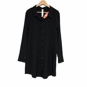 Oiselle Shirt Dress in Black Sz 10 NWT